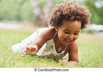 African girl is having fun