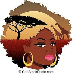 African Girl Landscape
