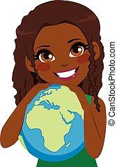 African Girl Loving Earth