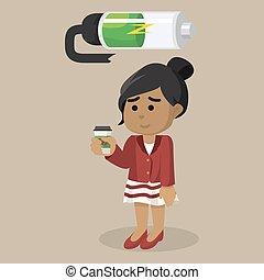 african Girl recharging battery vector illustration design