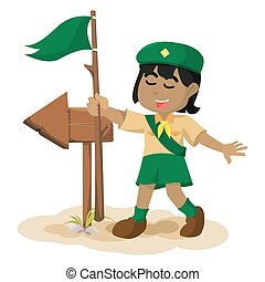 African girl scout following the arrow sign