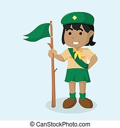 African girl scout holding flag