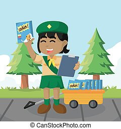African girl scout selling cookies