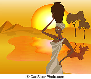 African girl with a pitcher goes to fetch water, vector...