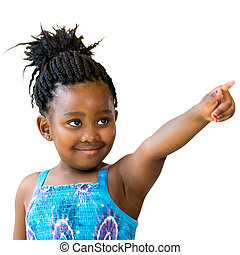 African girl with braided hair pointing with finger.