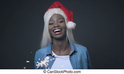 African girl with white hair smiling Happy christmas - Cute ...