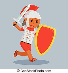 African gladiator with sword and shield