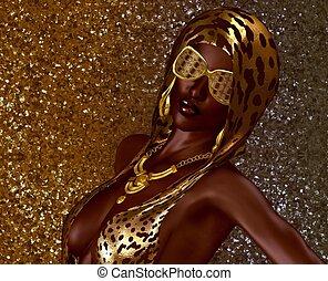 African Gold Glitter Beauty