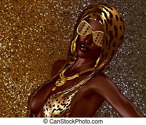 African Gold Glitter Beauty