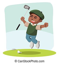 African golf player happy
