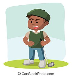 African golf player illustration