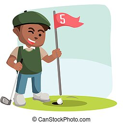 African golf player letting his ball entering hole