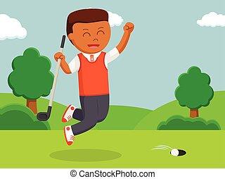 African golfer man happy making score