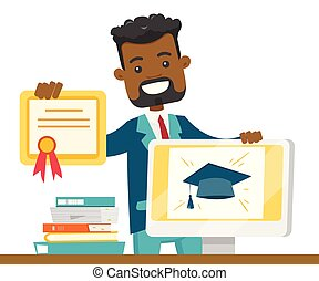 African graduate holding certificate and tablet.