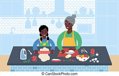 African grandmother and granddaughter preparing meal together. Flat style vector illustration.