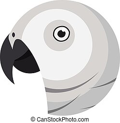 African grey parrot portrait made in unique simple cartoon style. Head of parrot. Isolated artistic stylized icon or logo for your design
