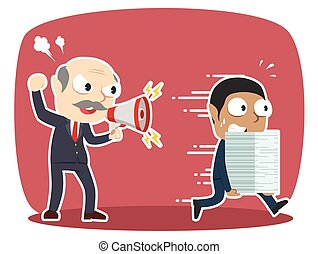 african grumpy boss yelling angry to his employee