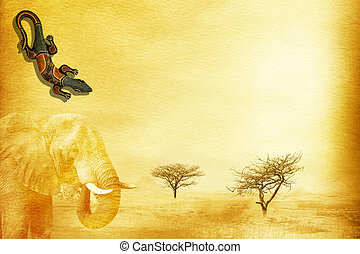 African grunge background. - Textured grunge african paper...