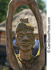 african handcraft wood carved people figures
