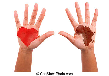 African hands with a painted heart and the african continent shape, i love africa concept, isolated on white background