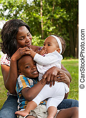 African happy family - Happy mixed family is having a nice...