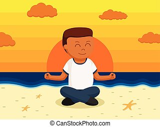 African healthy fat man meditate in a beach