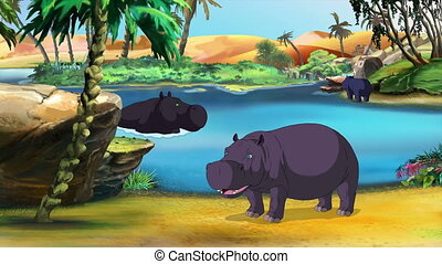 Hippos grazing near a small lake in Africa. Handmade animation