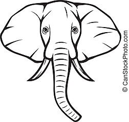 (african, hoofd, elephant), elefant