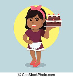 African housewife serving cake