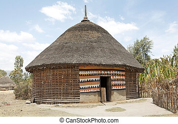 African hut - Hosaina, Ethiopia, February 22, 2013: the...