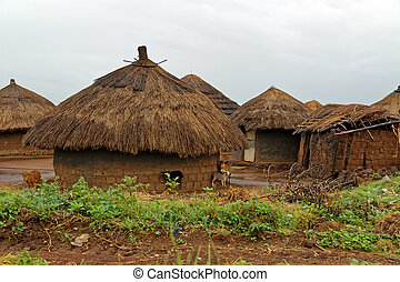 African Huts on a Rainy Day in Uganda