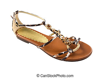 African jewel sandal isolated on white background. Clipping path included.