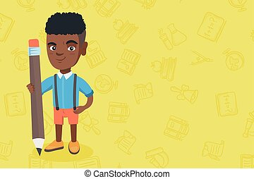 African kid boy standing with a huge pencil.