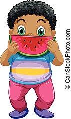African kid eating watermelon