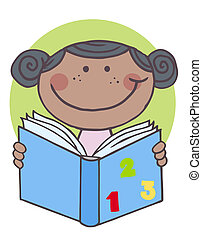 African Kid Girl Reading A Book
