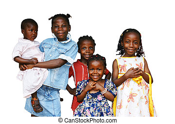 Happy African kids all girls or sisters of the same family isolated on white