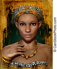 African Lady, 3d CG - 3d computer graphics of a young...