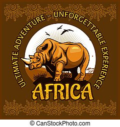 African landscape and rhino - vector poster.