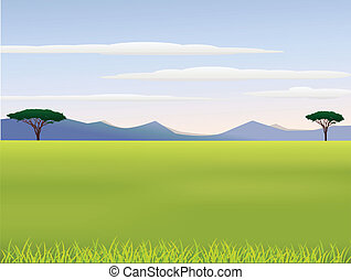 African landscape - Vector illustration of African landscape