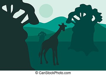 African landscape with baobabs and walking giraffe