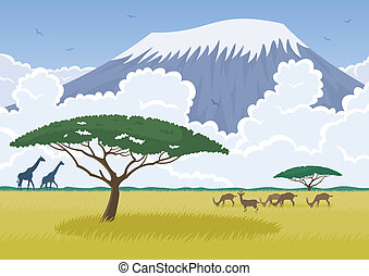 African landscape with the Savannah and Mt Kilimanjaro in...