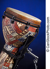 African Latin Djembe Drum Isolated on Blue