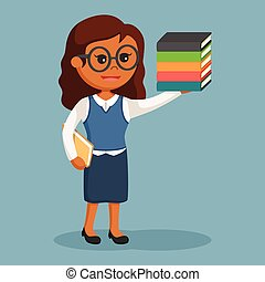 African librarian girl with book