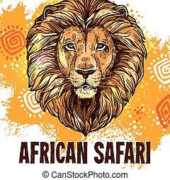 African lion poster safari hunting vector poster