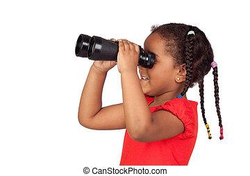 African little girl looking through binoculars