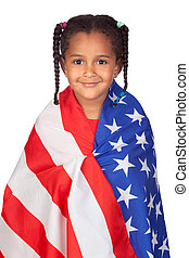 African little girl with a American flag isolated on a over...