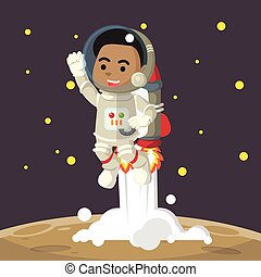 African looking male astronaut riding jetpack