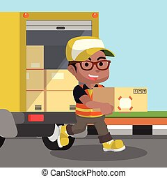 African looking male delivery service unloading package