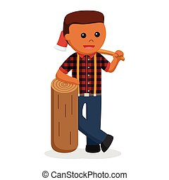 African lumber jack with big wood and log