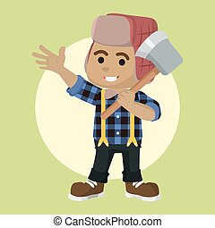 african Lumberjack boy illustration design
